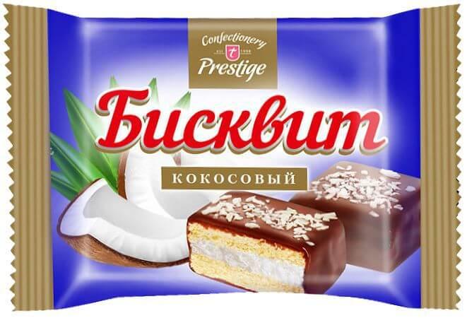 Печенье сдобное «Бисквит с начинкой с кокосовым вкусом» (флоупак) фото 1