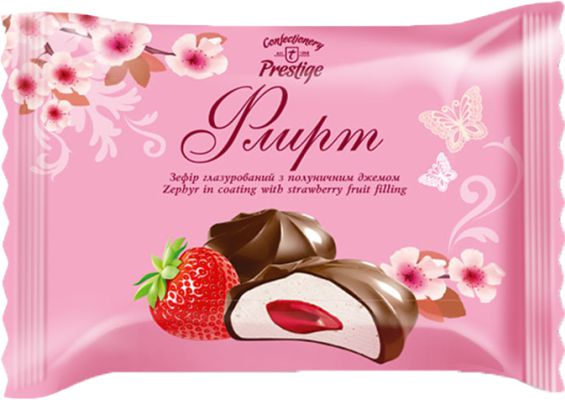 "Zephyr ""Flirt"" with strawberry flavored filling in confectionery coating (flowpack) фото 1"