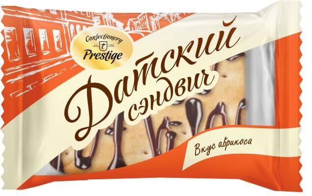 Печенье сдобное «Датский сэндвич» с наполнителем с ароматом абрикоса фото 1