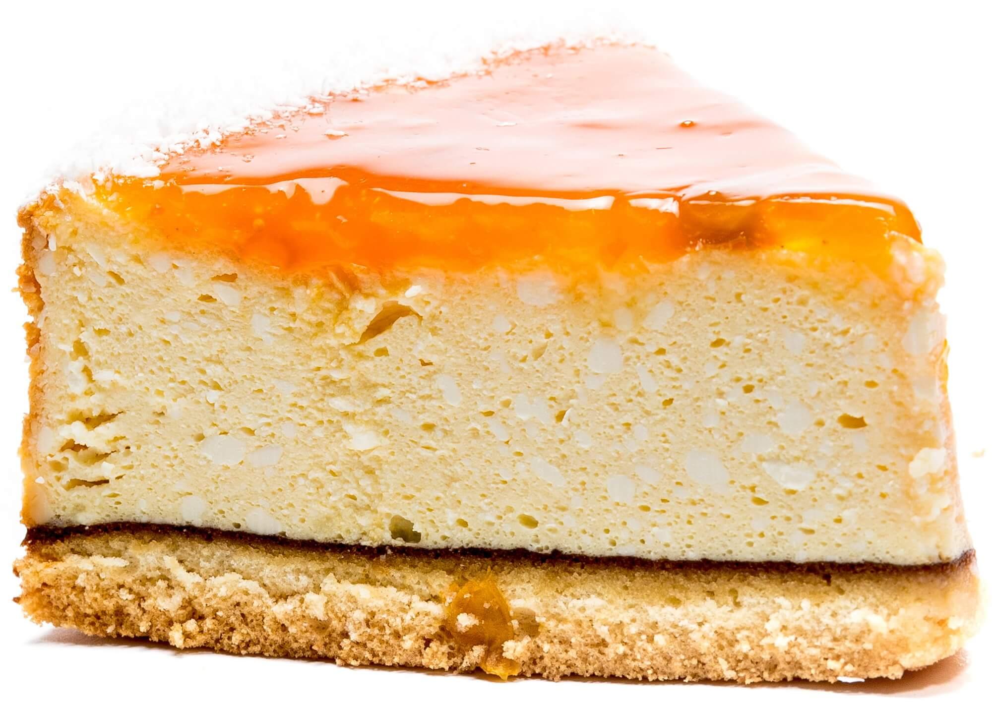 Пирожное бисквитно-творожное «Чизкейк с кусочками персика» фото 1