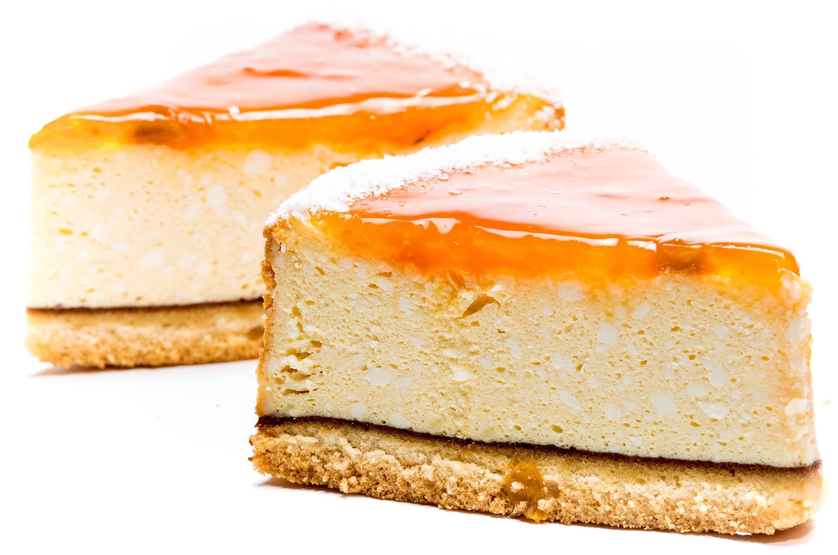 Пирожное бисквитно-творожное «Чизкейк с кусочками персика» фото 2